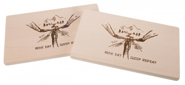 Schneidebrett Ahorn 26 x 15 x 1,5 cm - Mountainbike - Ride Eat Sleep Repeat